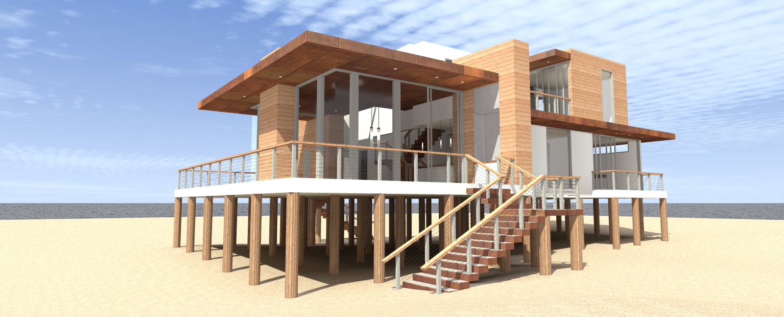 Ultra Modern 4 Bed Beach Home Plan - 44122TD ...