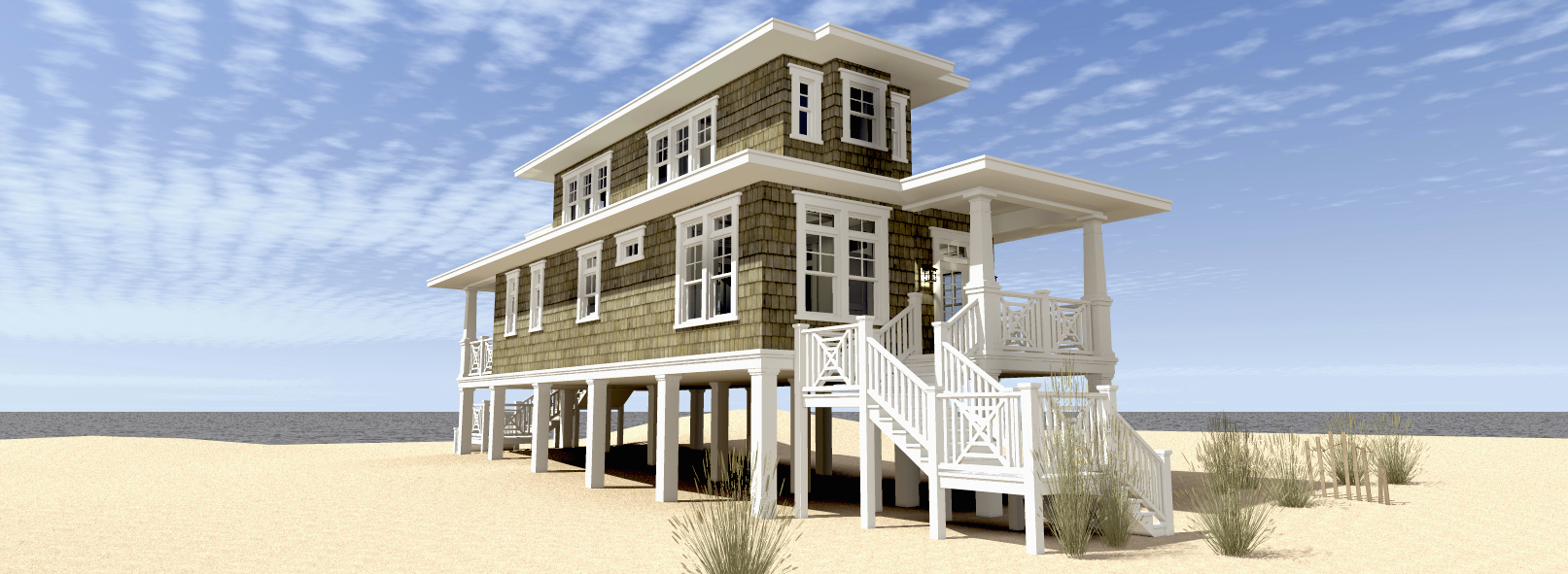 Beach house plan with walkout sundeck 44124td 2nd for Narrow beach house plans on pilings
