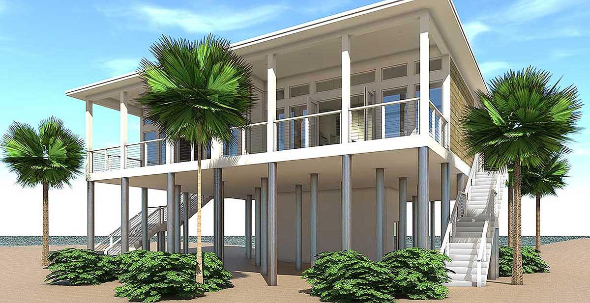 Modern beach duplex plan 44127td architectural designs for Duplex beach house plans