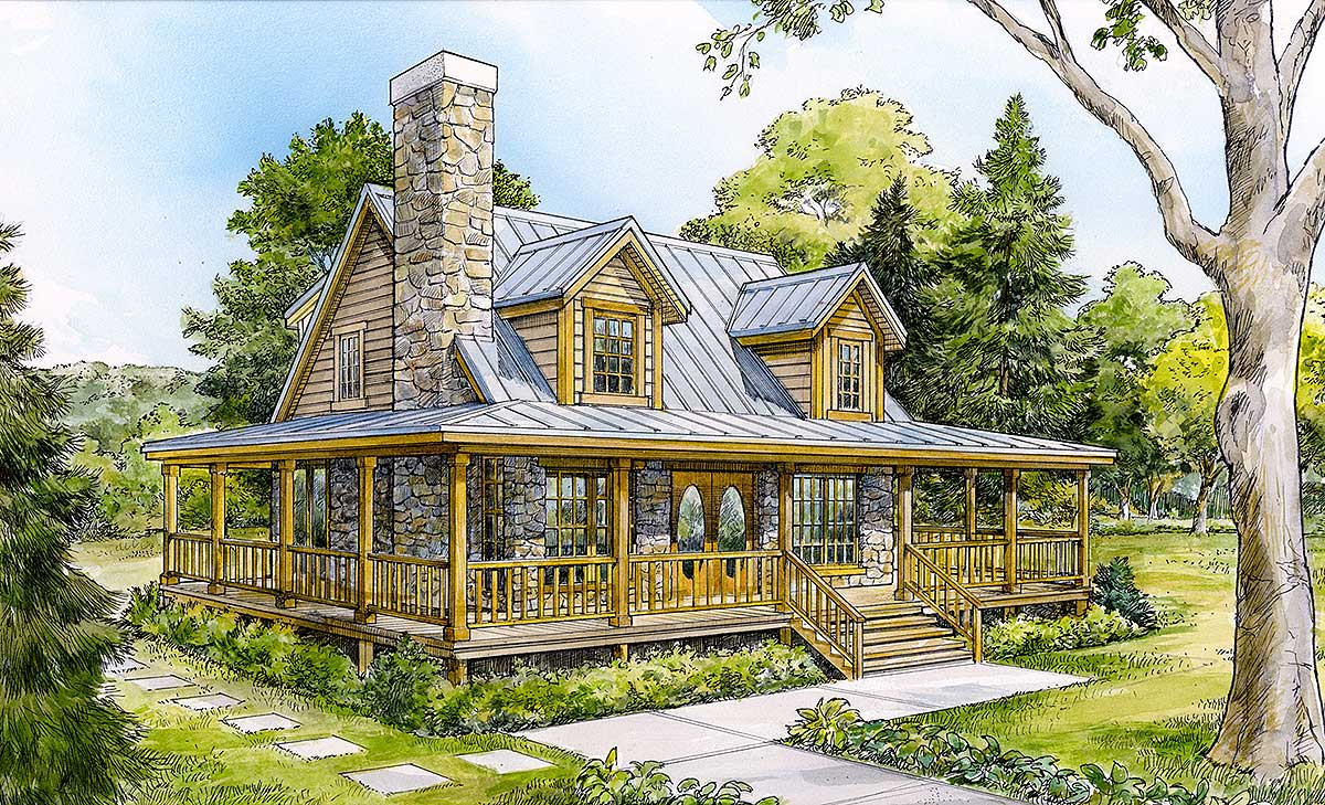 Wrap around country porch 46002hc architectural for Country cabin plans