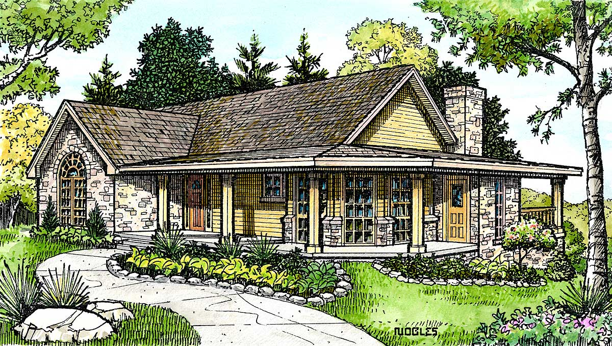 Hill country cottage 46005hc 1st floor master suite for Hill country ranch home plans