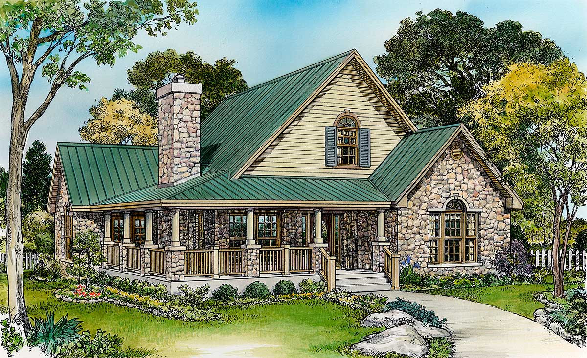 Large loft with full bath 46015hc architectural for Hill country house plans with wrap around porch