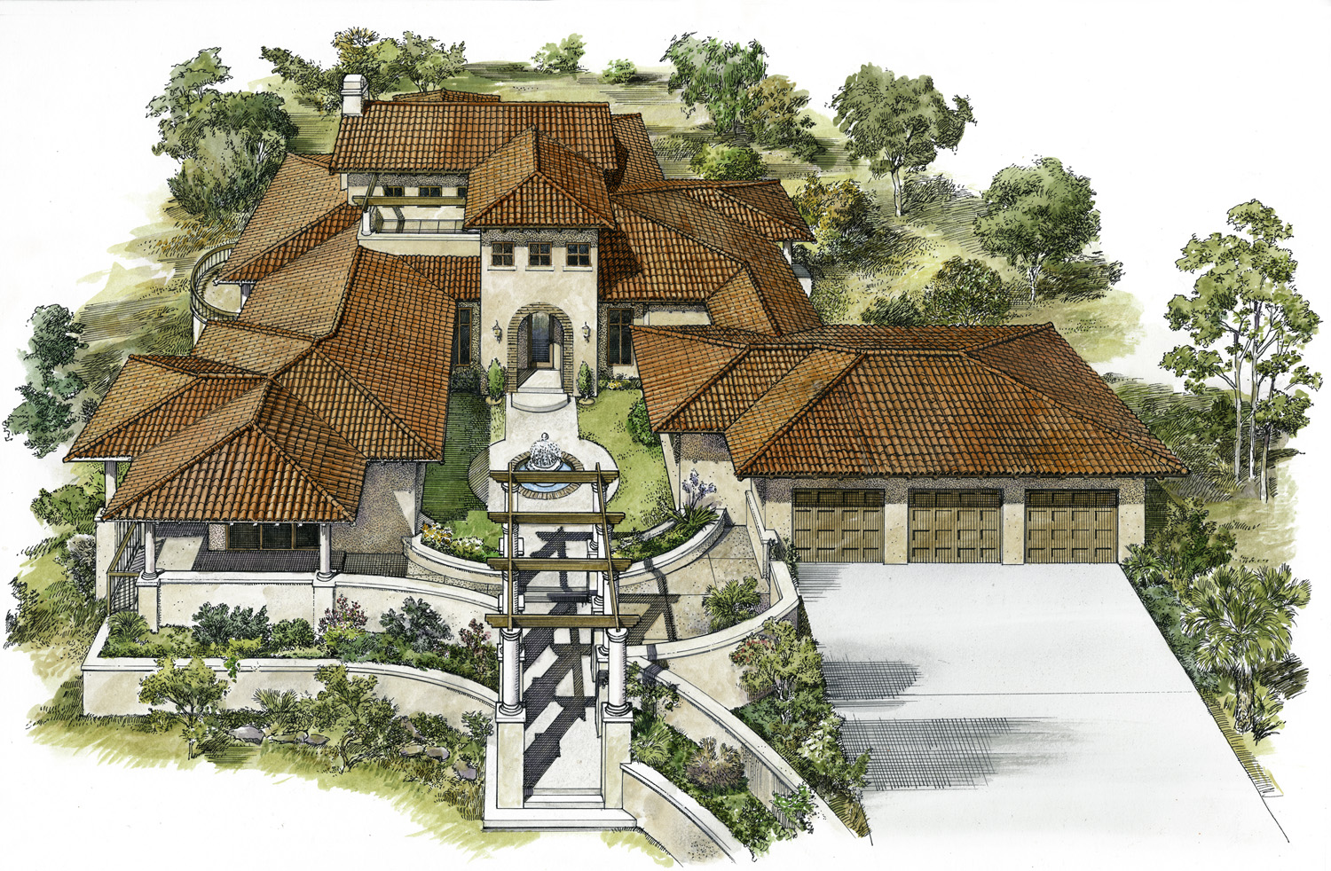 Courtyard entry garden 46024hc architectural designs for Courtyard entry house plans