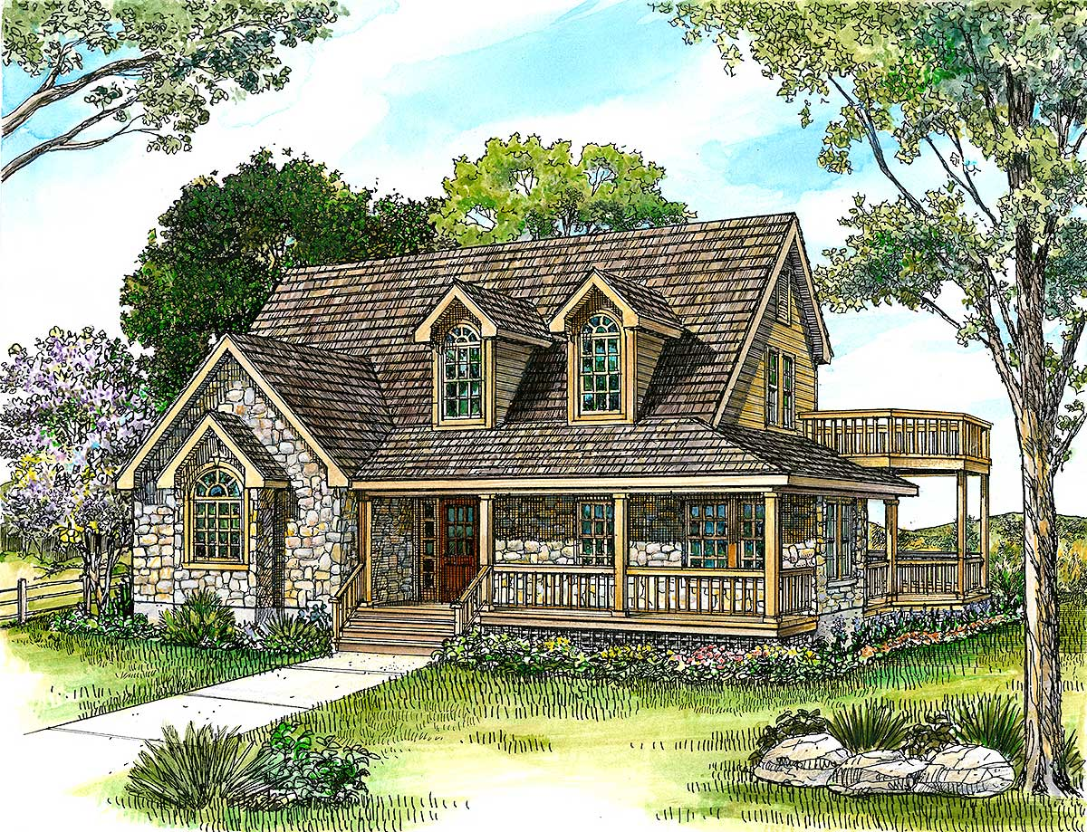 Country stone cottage home plan 46036hc architectural for Cottage floor plans