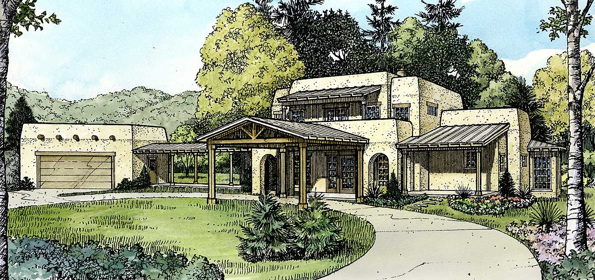 Compelling Southwestern Home Plan 46037hc