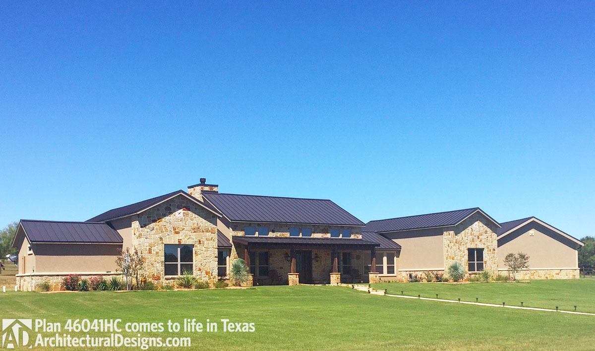 House plan 46041hc comes to life in texas with a 4 car garage for South texas house plans