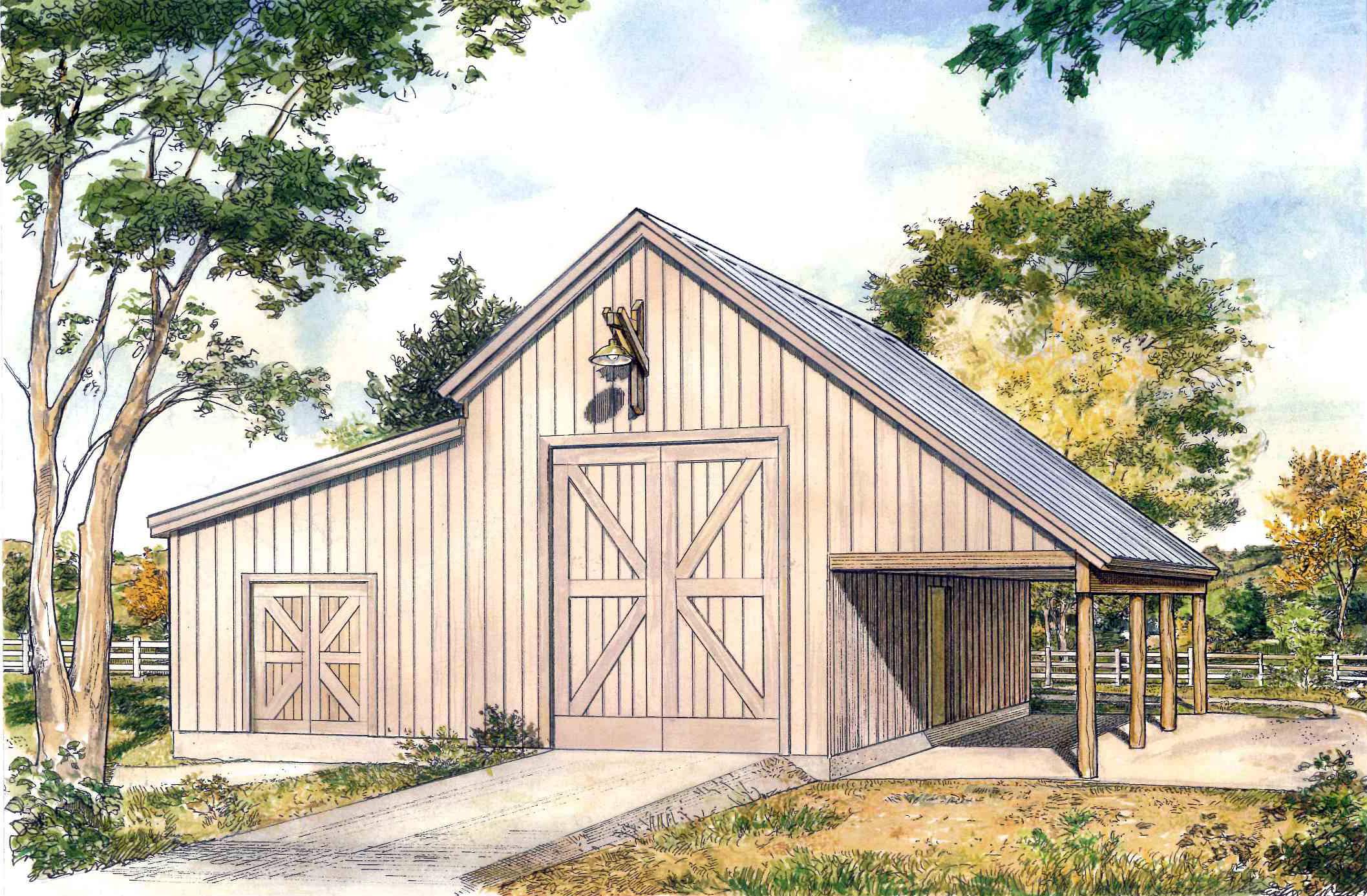 Rustic drive through garage 46060hc cad available pdf for Rustic garage plans