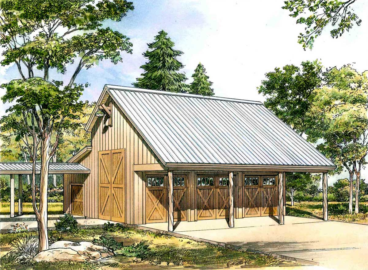 Tiny Home Designs: Rustic 3-Car Garage Plan With Shop