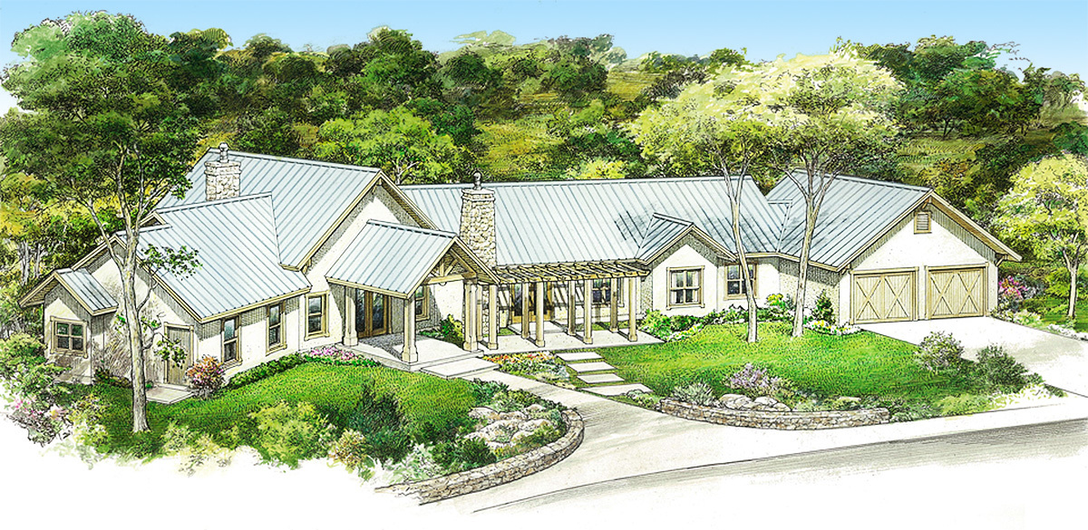 Hill country ranch with private master suite 46065hc for Hill country ranch house plans