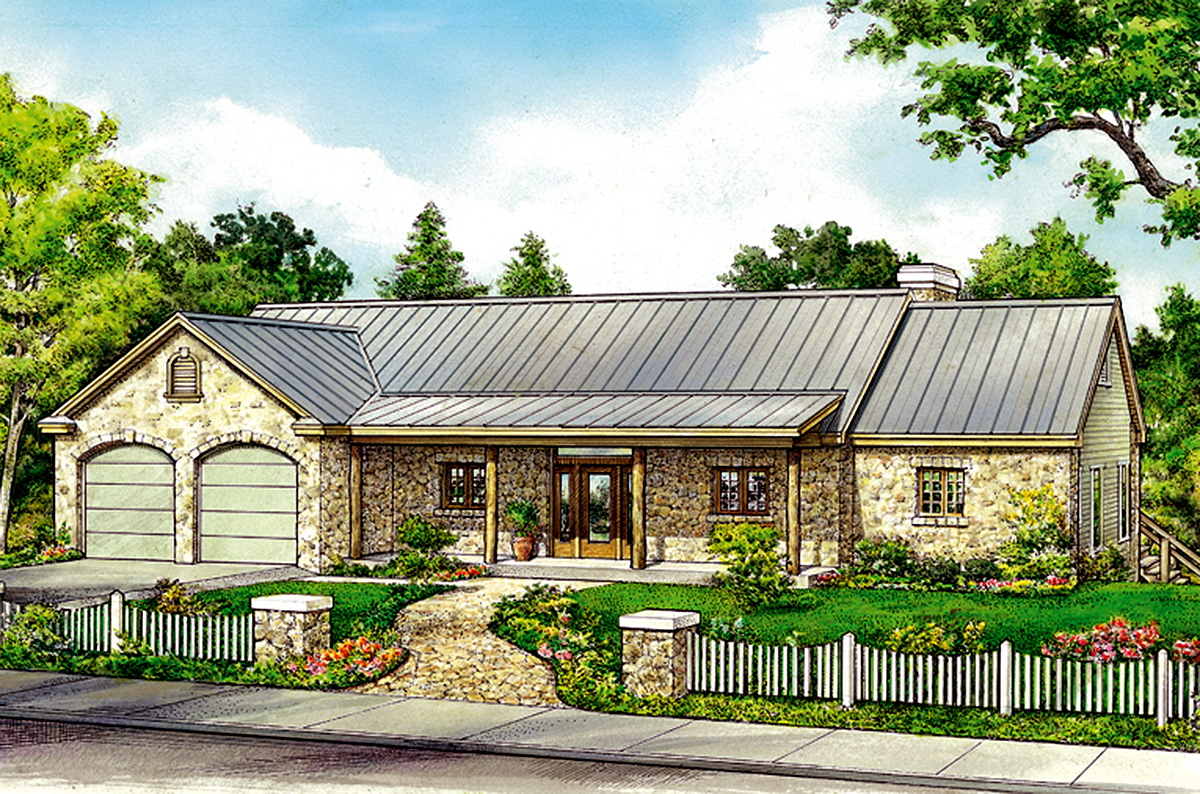 Hill country house plan with split bedrooms 46069hc for Hill country ranch home plans