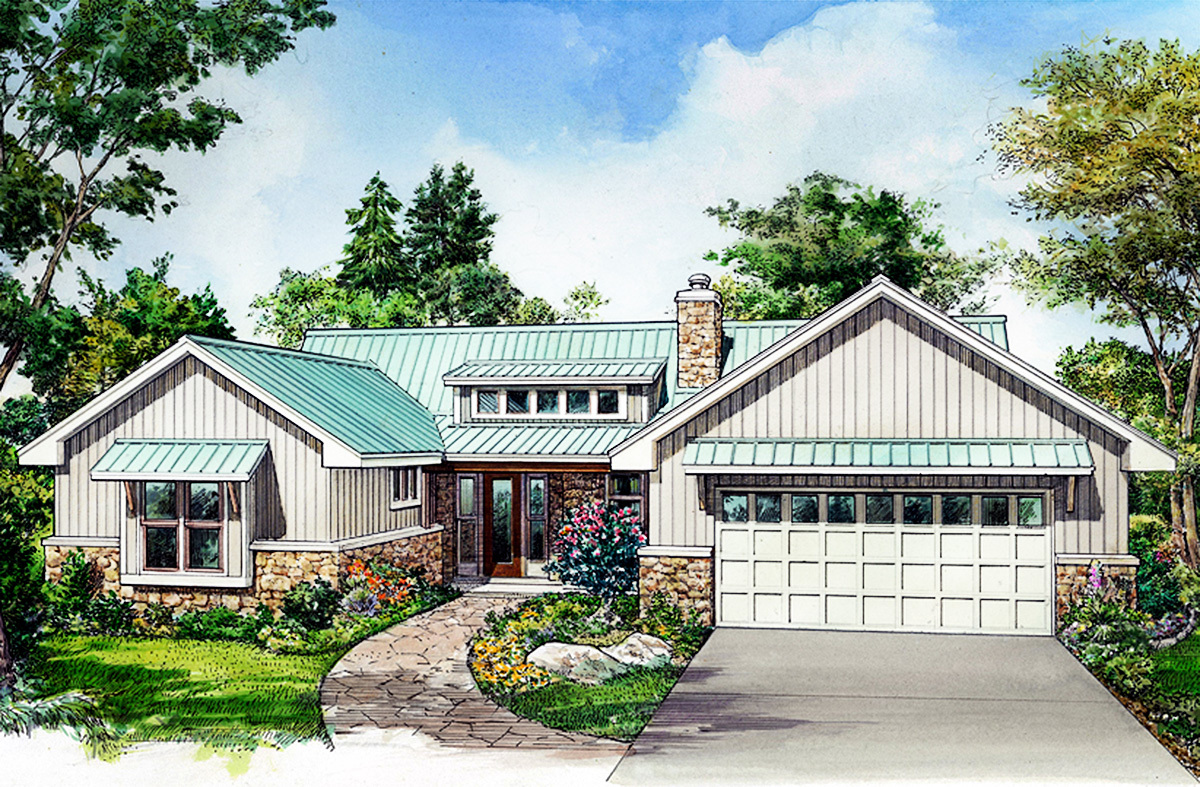 Rustic 3 bed ranch with shed dormer 46071hc for House plans with shed dormers
