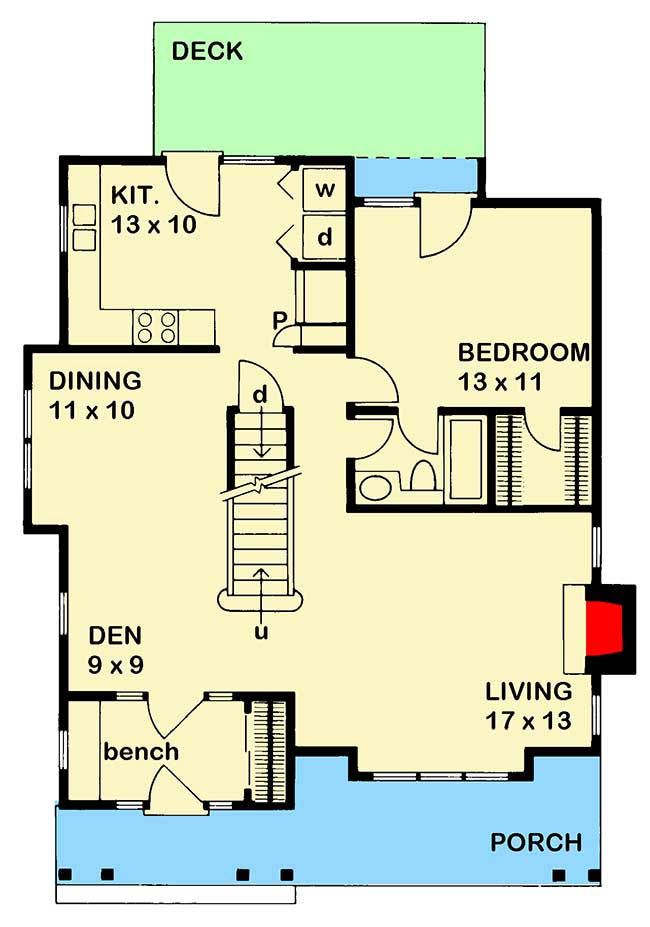 Craftsman style home ideal for retirees 46101jb for Ideal homes floor plans