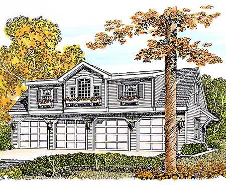 Gable dormer garage apartment 46150se architectural for Gable garage plans