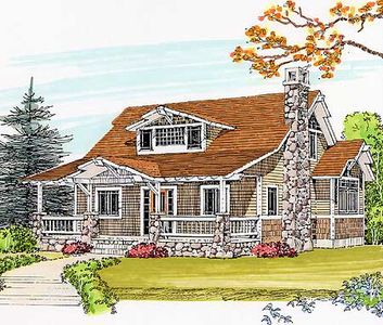 Classic craftsman bungalow 46161se architectural for Classic cottage house plans