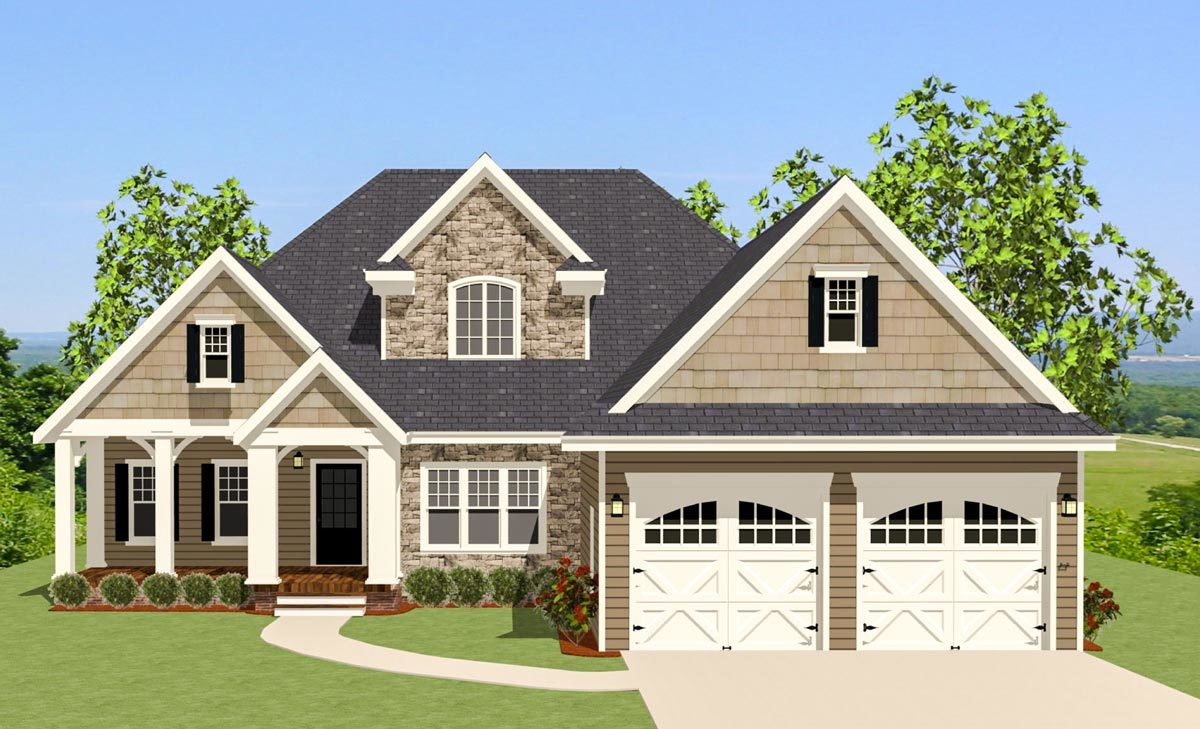 Starter craftsman with porch and deck 46220la for Craftsman home plans with porch