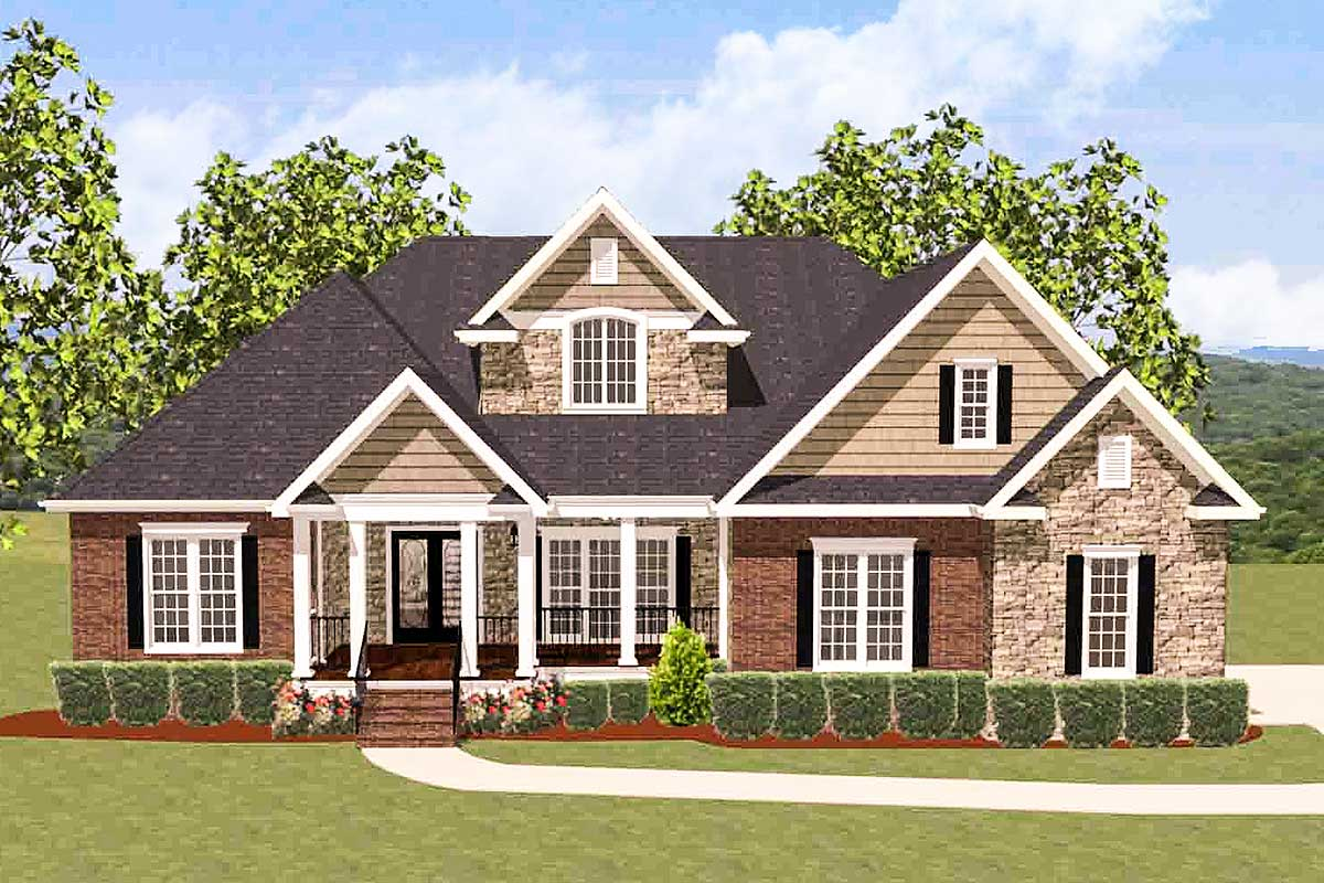 4 Bed House Plan With Upstairs Office 46230la