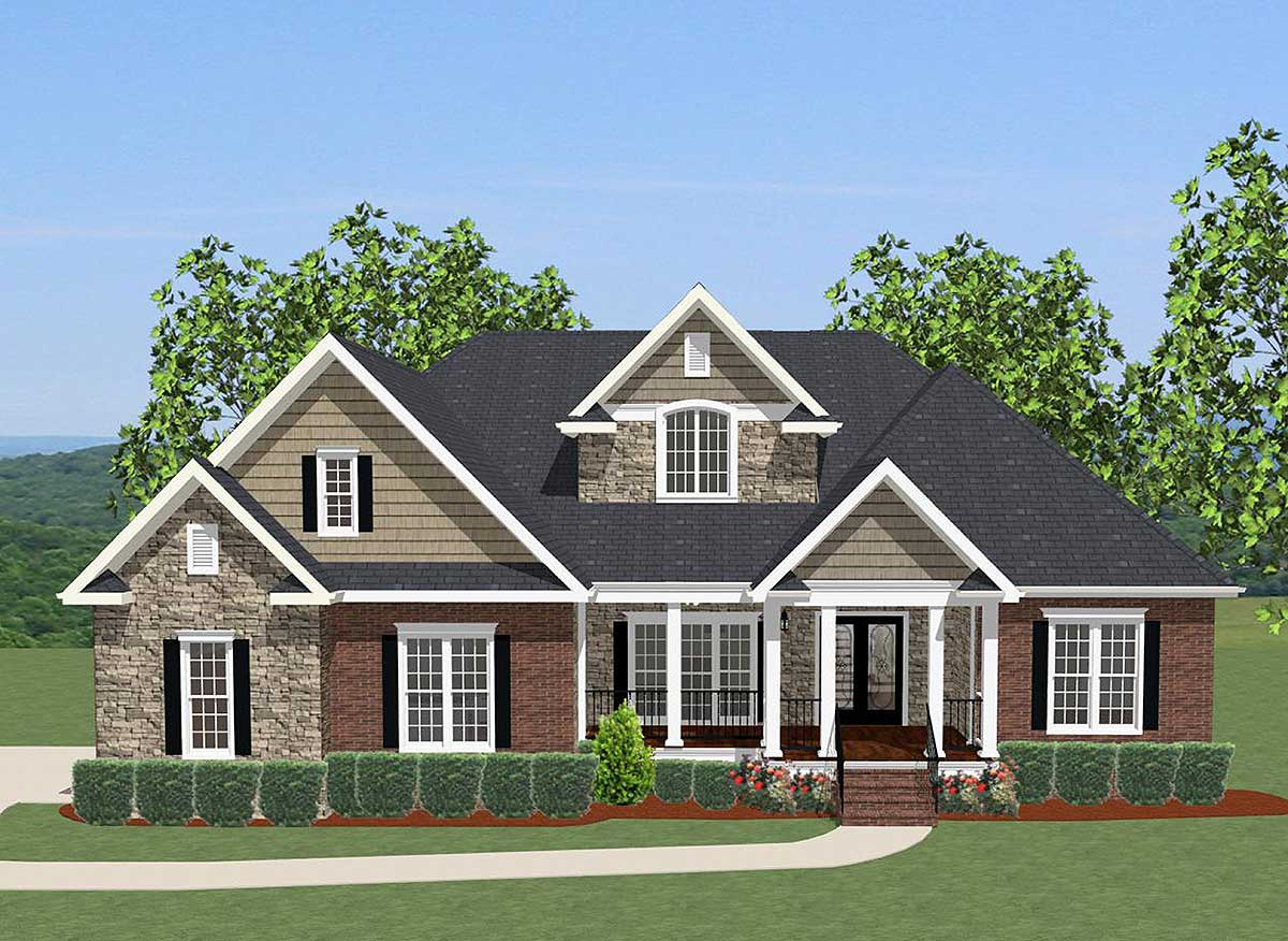 4 bed house plan with upstairs office 46230la for Upstairs house plans