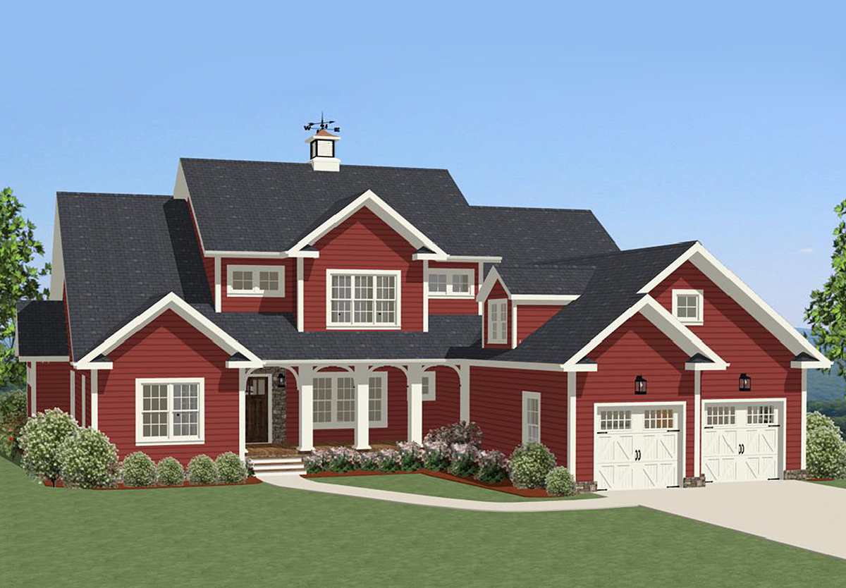 Traditional house plan with huge bonus room 46255la for Traditional farmhouse plans