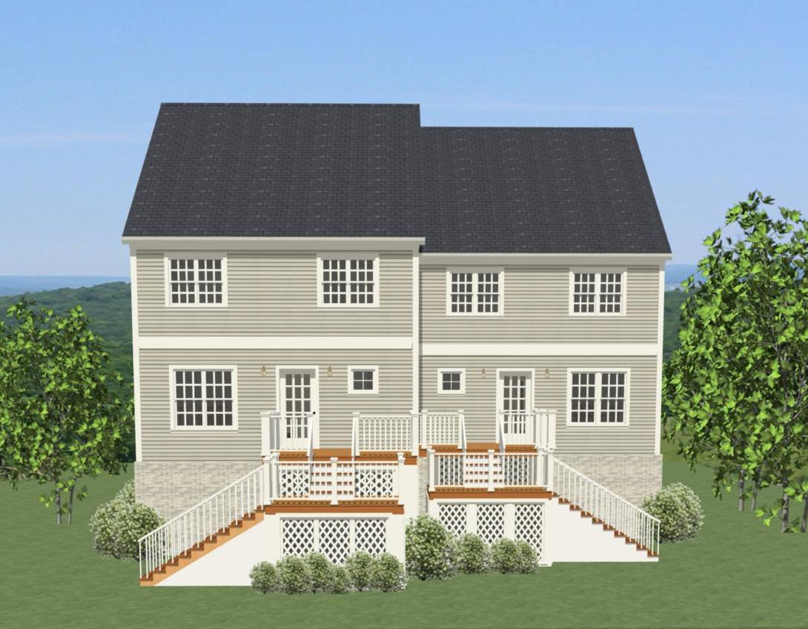 Offset duplex house plan with rear decks 46272la 2nd for House plans with offset garage