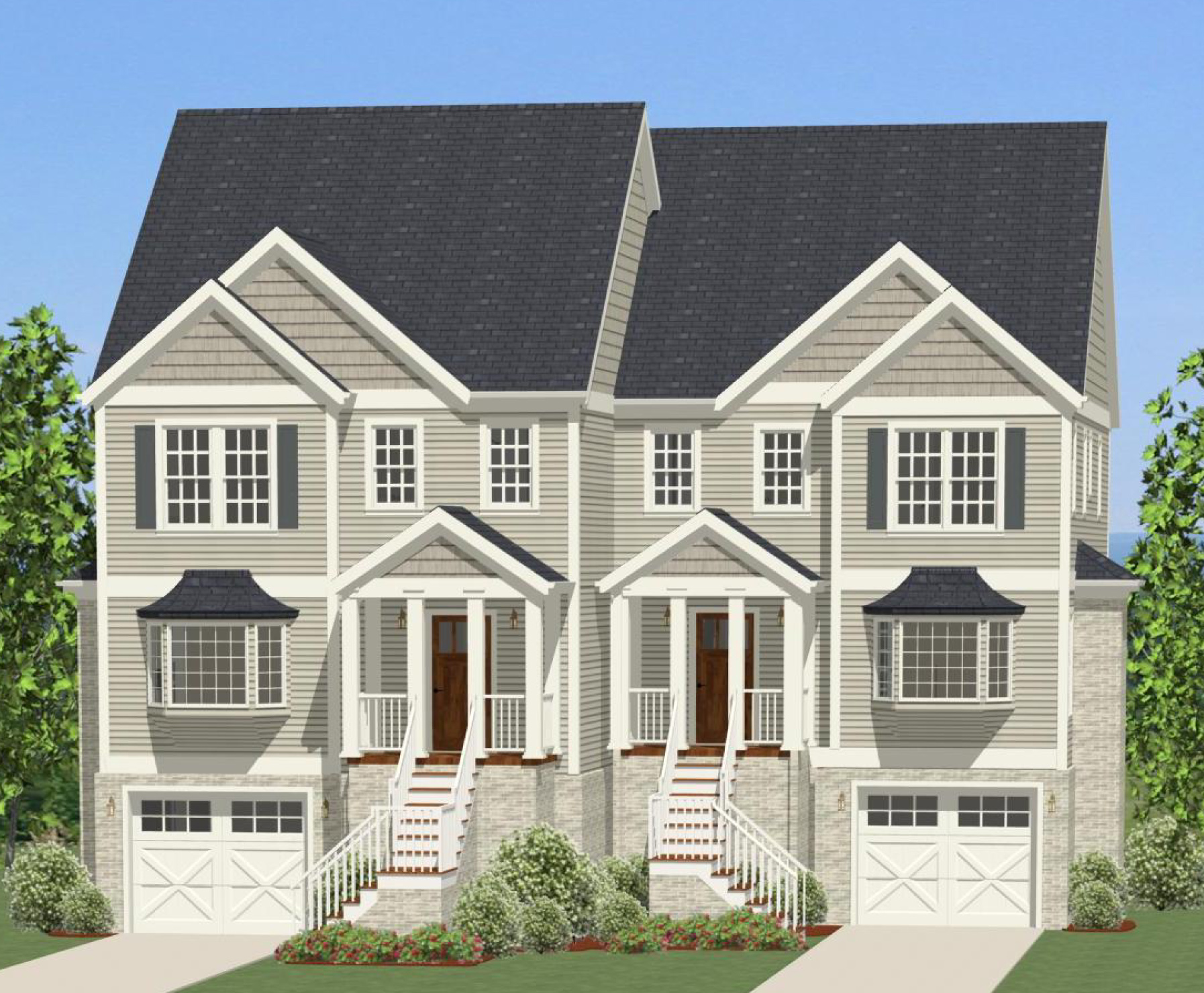 Offset duplex house plan with rear decks 46272la 2nd for House designs with master bedroom at rear