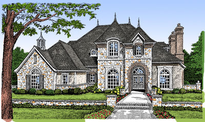 Majestic European House Plan - 48001FM thumb - 01