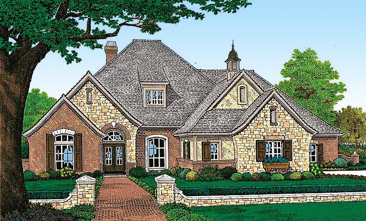 Attractive French Country Exterior 48005fm 1st Floor