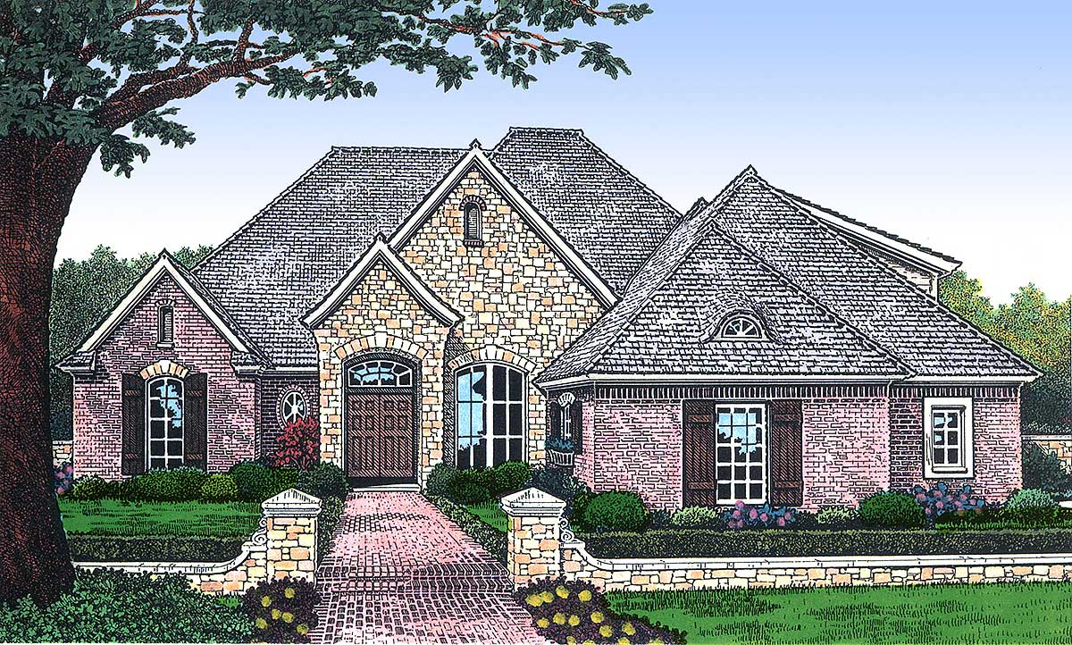 Brick and stone accents 48056fm architectural designs for Brick house design blog