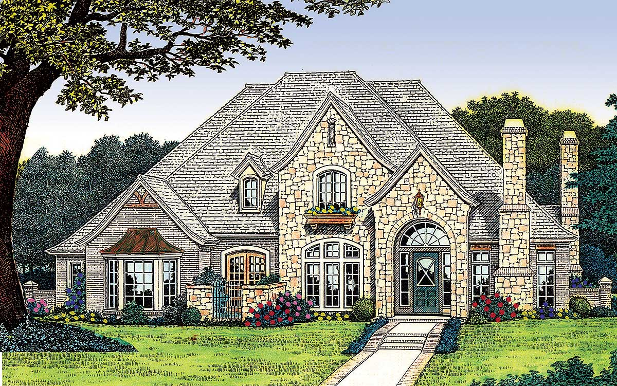 Classically french with options 48058fm 1st floor for European country house plans