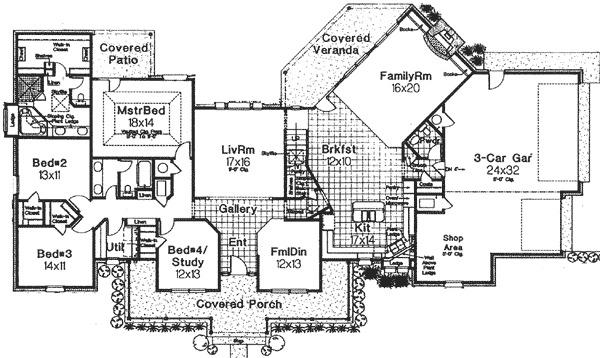 Classic farmhouse with angled spaces 48063fm 1st floor for Farmhouse plans with bonus room