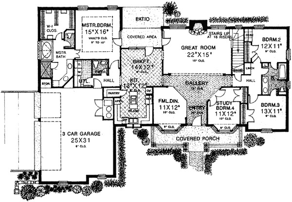 4 bedroom home plan with options 48081fm 1st floor for 4 bedroom house plans with bonus room