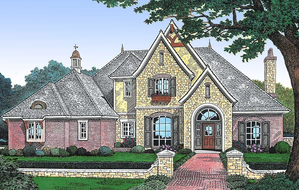 European house plan with two story family room 48090fm for 2 story european house plans