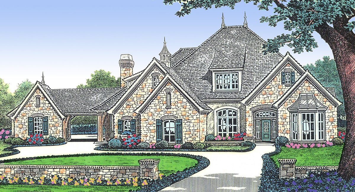Courtyard entry grandeur 48200fm architectural designs for Courtyard entry house plans