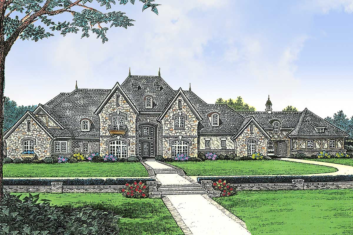Grand european manor home 48214fm architectural for European manor house plans