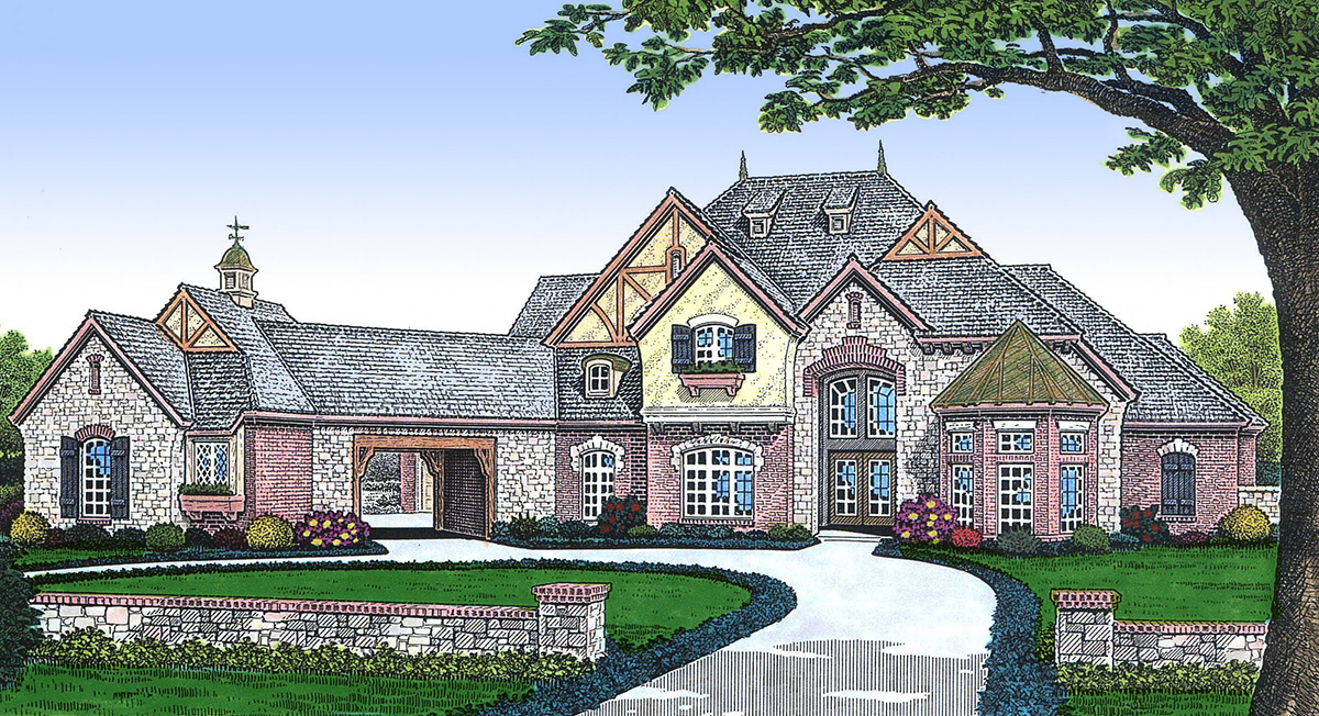 Stunning french country home 48236fm architectural for French country garage plans