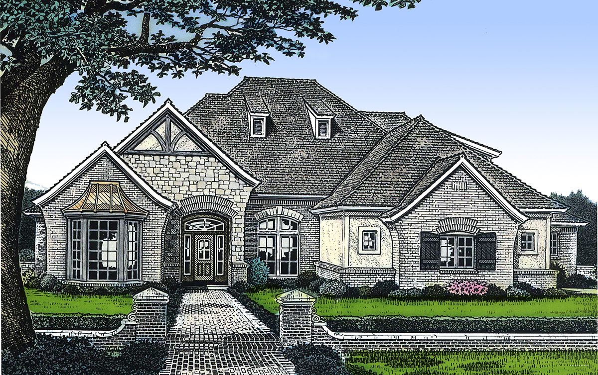 European house plan with vaulted great room 48254fm for Great home plans