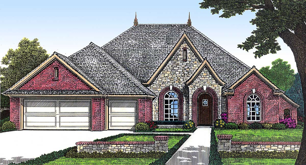 One story european house plan with bonus space 48303fm for European house plans one story