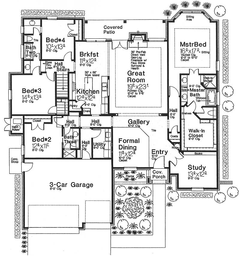 One story european house plan with bonus space 48303fm for One level house plans with bonus room