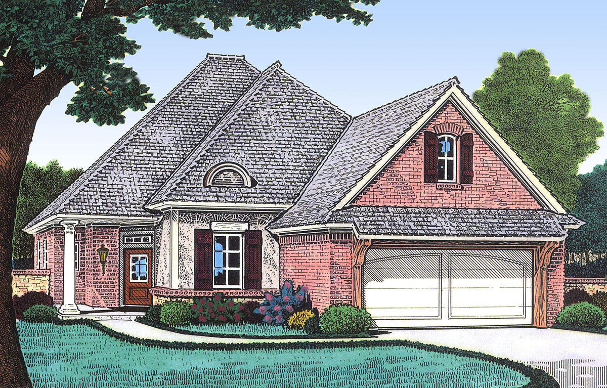 Narrow lot french country house plan 48309fm 1st floor for French country cottage plans