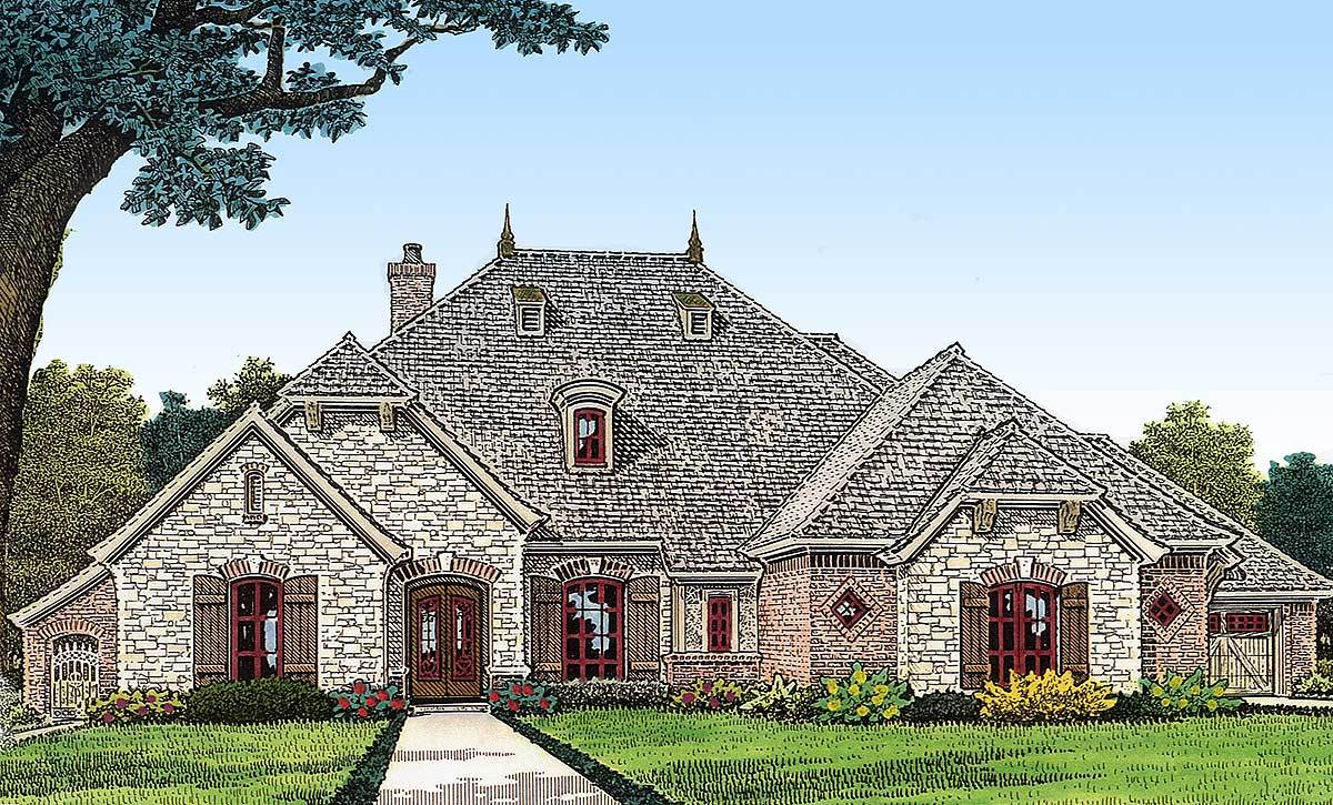 French country with split bedrooms 48365fm for Large french country house plans