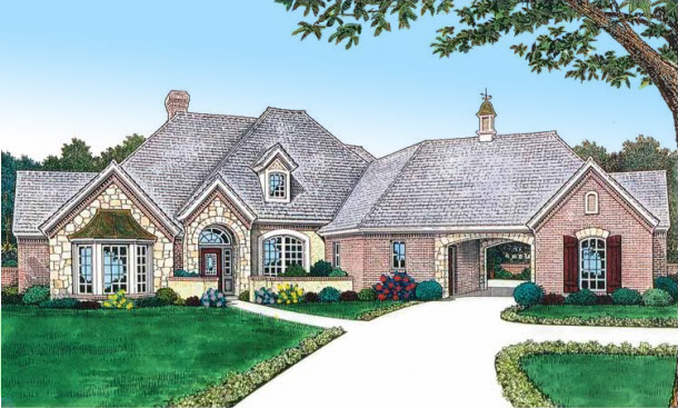 Old world french country home plan 48432fm 1st floor Old world house plans courtyard
