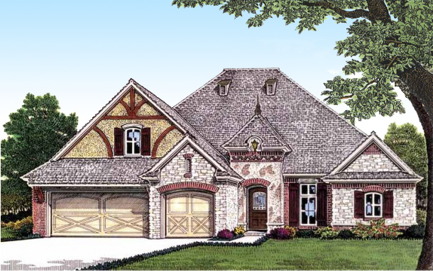 Dynamic open floor plan 48440fm 1st floor master suite for French country house plans open floor plan