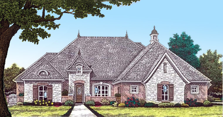 French country home with open layout 48444fm for Large french country house plans