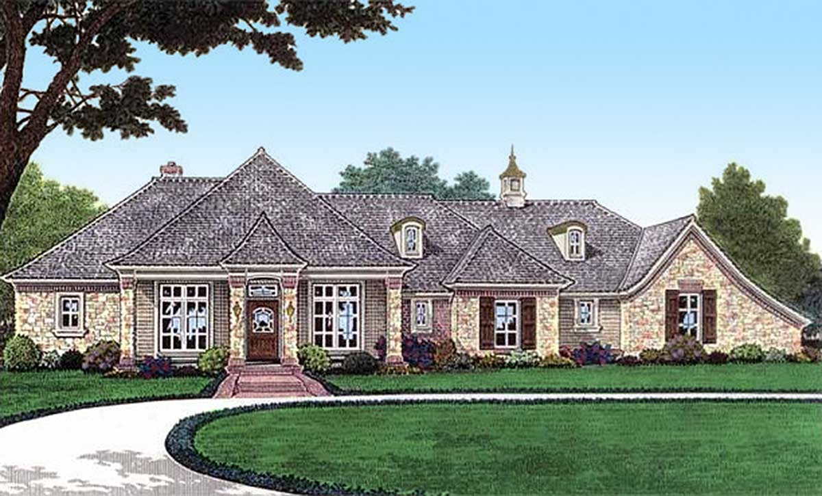 French Country With Vaulted Ceilings 48450fm