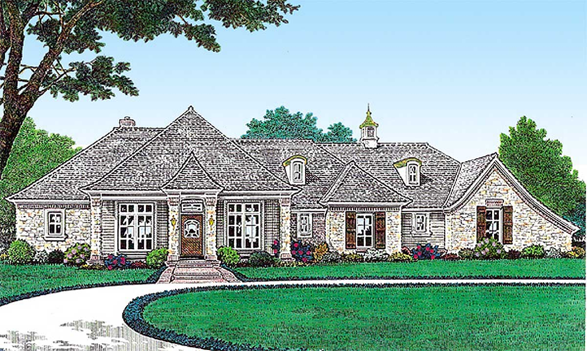 Single level french country house plan 48501fm for One level country house plans