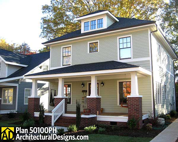 Traditional four square house plan 50100ph 2nd floor for American west homes floor plans