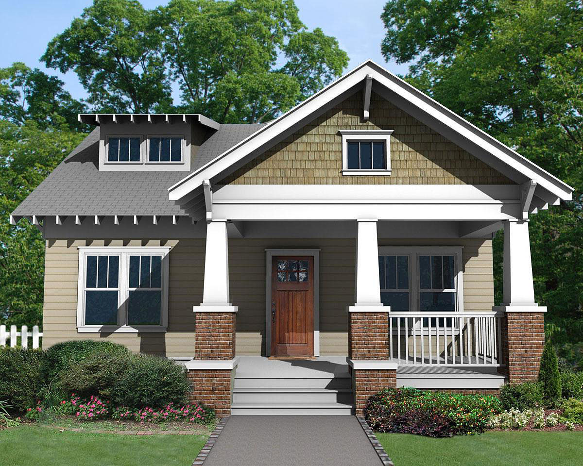 Charming craftsman bungalow with deep front porch for Craftsman home plans with porch