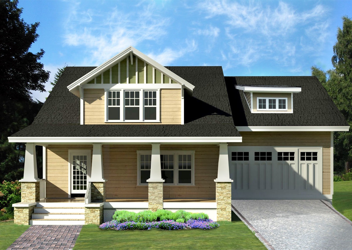Arts crafts bungalow house plan 50104ph for Arts and crafts style home plans