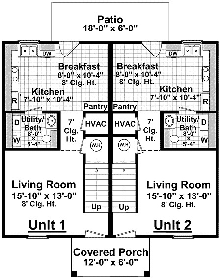 Full featured duplex plan 51035mm 2nd floor master for Basic duplex floor plans