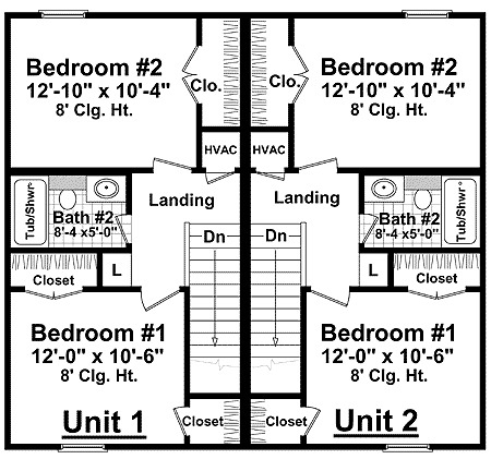 Full featured duplex plan 51035mm 2nd floor master for Usda house plans