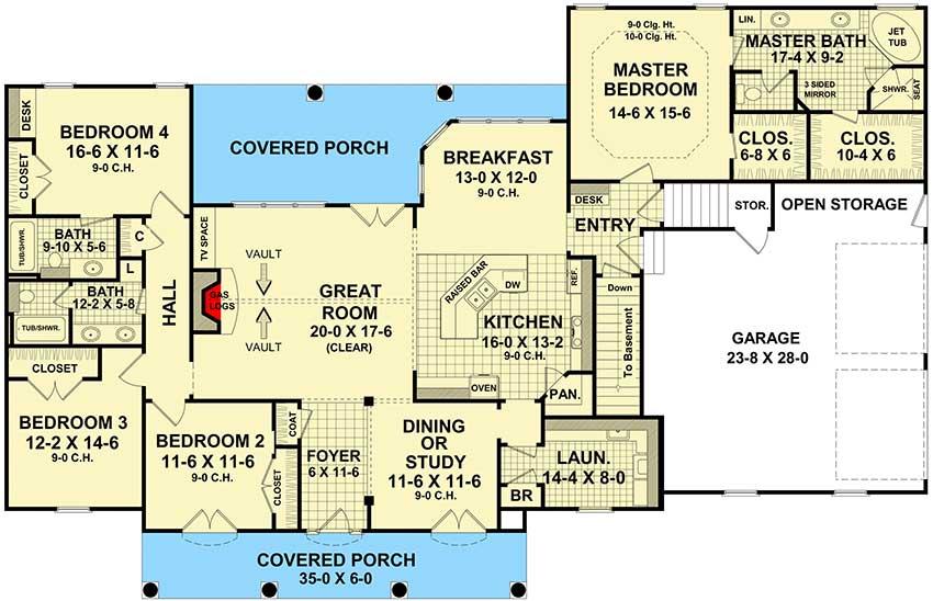Four Bedroom Split-Bedroom House Plan - 51063Mm | Architectural